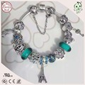 Hot Sale High Quality With Many Different Silver Charm Green Series Luxurious 925 Sterling Silver Charm Bracelet