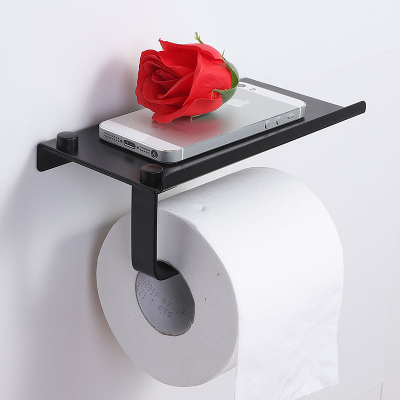 Polonês suporte do papel Higiénico tecido em aço inoxidável 304 suporte do telefone móvel titular banheiro rolo de papel rack de montagem na parede do banheiro do produto