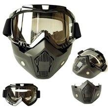 Мотокросс Очки Очки Лицо Респиратор Со Съемной Мотоцикл Очки И Рот Фильтр Для Открытым Лицом Старинные Шлемы