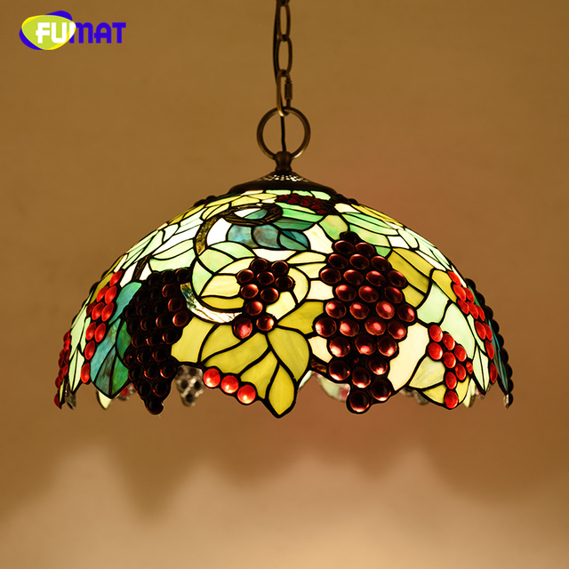 "FUMAT Stained Glass Pendant Lamp 16"" Glass Art Suspension Lights Living Room Garden Flower Baroque Kitchen Project Light Fixture"