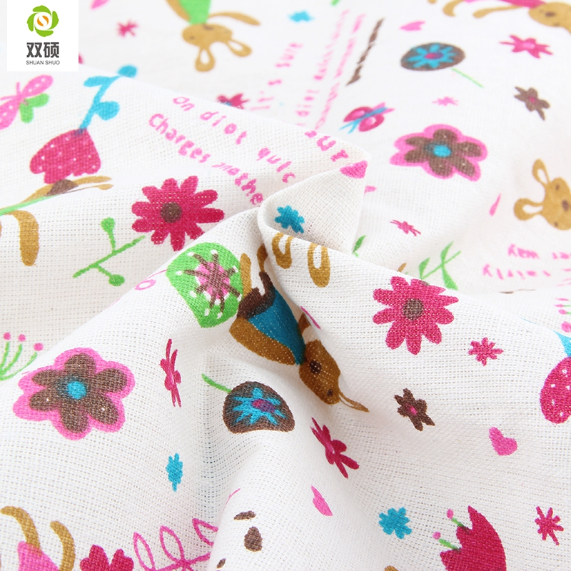 NEW Cartoon and Floral Series Cotton Linen Fabric A Meter Sewing Textile Patchwork Fabric For Sofa Curtain tablecloth 50x155CM