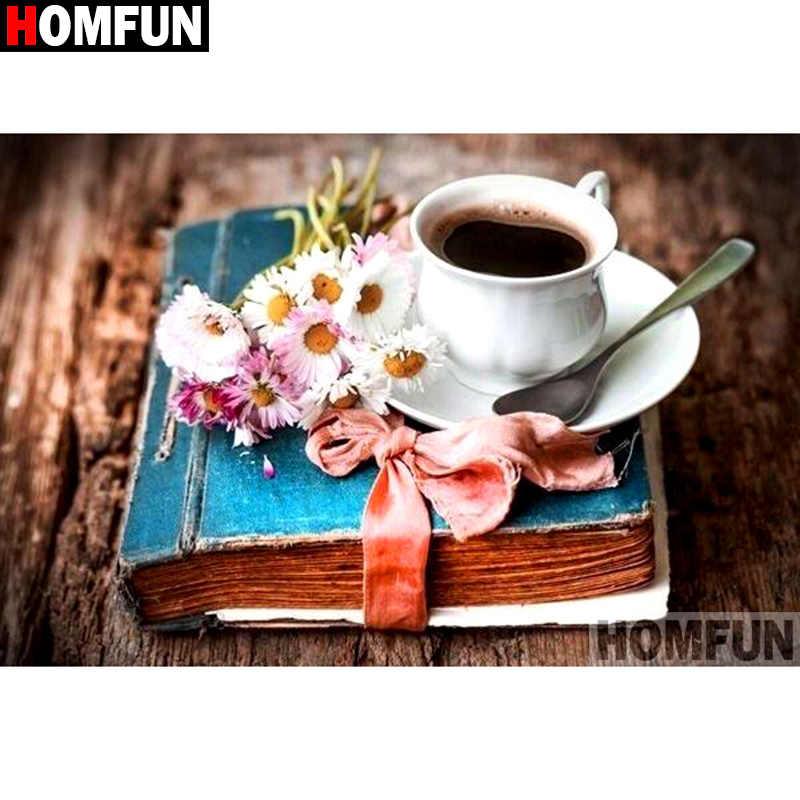 "HOMFUN taladro cuadrado/redondo completo 5D DIY diamante pintura ""flor libro Café"" bordado punto de cruz 3D decoración del hogar regalo A11033"