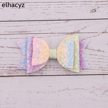 1PC New 3.5 Glitter Sequin Hair Bows Clips For Girls Clip DIY Leather Hairgrips Kids Hairpin Accessories