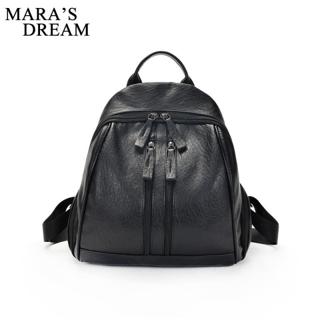 7b07022766 Mara s Dream Retro Popular Women Backpack Black PU Leather Women s Backpacks  Fashion Girls School Bag Small Female Backpacks