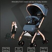 Супер легкий дорожный детский автомобиль один ключ складная детская коляска 8 колес детская коляска высокого вида путешествия бесплатные п