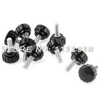 10pcs 5mmx15mm Male Threaded 18mm Dia Plastic Thumb Screw Knurled Knobs