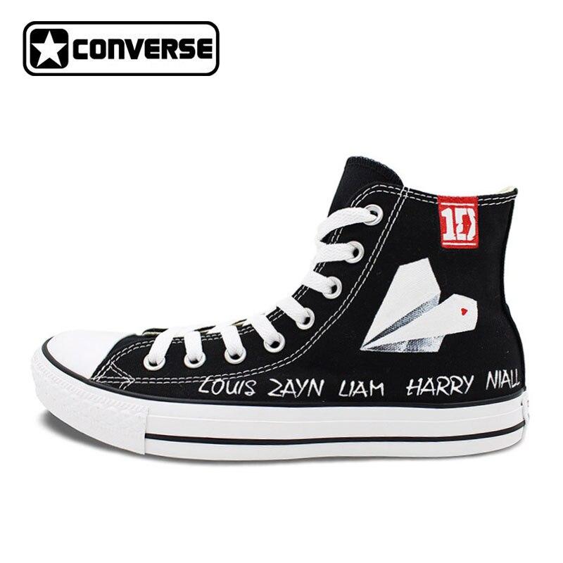 1D una dirección Converse All Star Paper Plane diseño personalizado pintado  a mano Zapatos Hombre Mujer alto Top negro zapatillas de lona regalos d93327490531