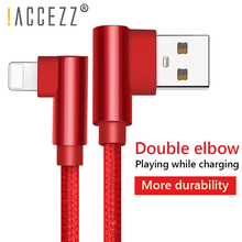 !ACCEZZ Lighting USB Cable For iPhone 7 X Xs Max XR 90 Degree Charging Wire Fast Game Charger Data Cables iOS 12 2M