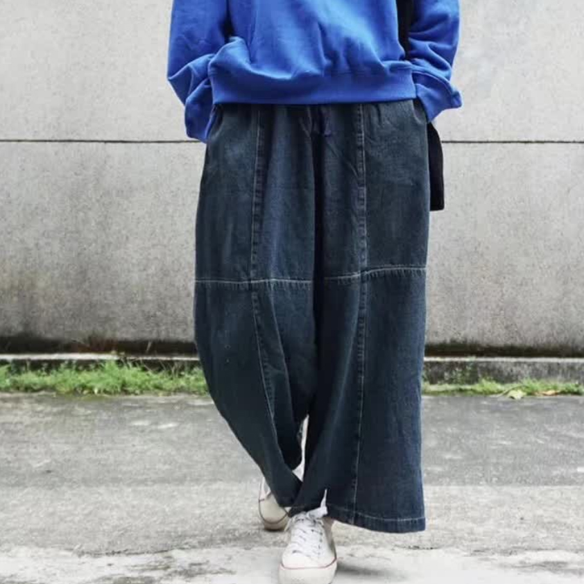 Women's Fashion Spliced Loose Jeans Elastic Waist Lace Up Wide Leg Ankle Length Denim Pants