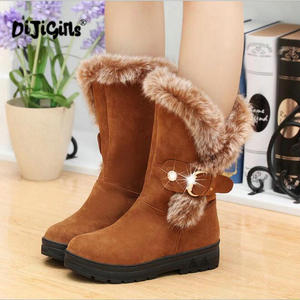 Image 3 - fashion New Ladies non slip Winter Women casual Warm Fur Mid Calf Boots women flat Round Toe Slip On Snow Boots women mujer