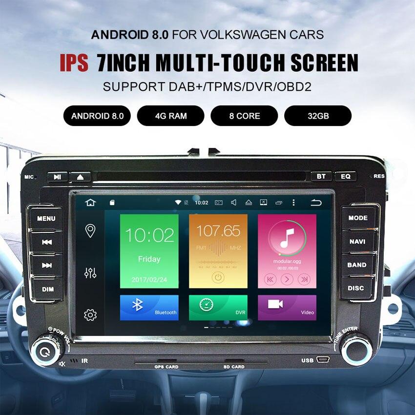 Lecteur multimédia de voiture KANOR Android 8.0 4 + 32G 2 Din pour Golf 5 6 Passat B6 siège de caddie Skoda canbus dvd automotivo radio fm - 2