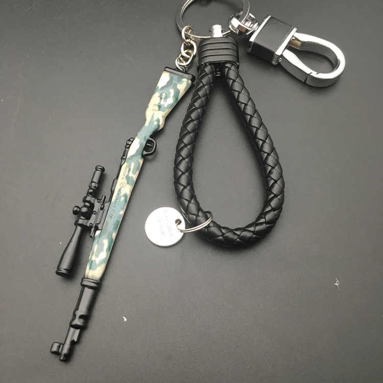 PUBG Playerunknown's Battlegrounds anahtarlık oyun PUBG kamuflaj oyuncak silah modeli anahtarlık çanta uğuru anahtarlık Chaveiro takı