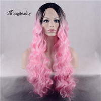 Strongbeauty Long Curly Pink Wig Synthetic Ombre Black to Pink Two Tone Lace Front Wig for Black Women
