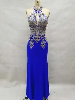 In stock size 2-14 sleeveless halter floor length gold lace appliques sheath royal blue celebrity evening gowns