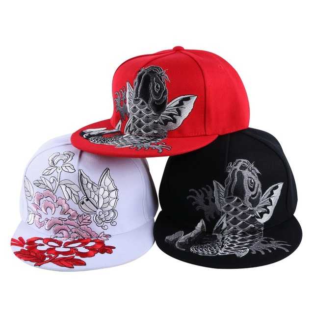 US $7 51 21% OFF|girl women brand snapback cap hat Best quality  Tridimensional embroidery fish floral butterfly design woman luxury  baseball caps-in