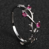 Модные Простые филиал Для женщин кольцо с цирконом розовое золото Цвет перстни полую конструкцию вечерние украшения Для женщин аксессуары Анель