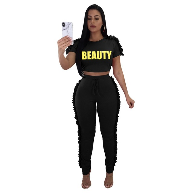 36d888eeb14d Women's Summer Casual Letter Print Two Piece Set Short Sleeve Lace Up O  Neck Graphic Crop Top Skinny Jumpsuits S-XL ME