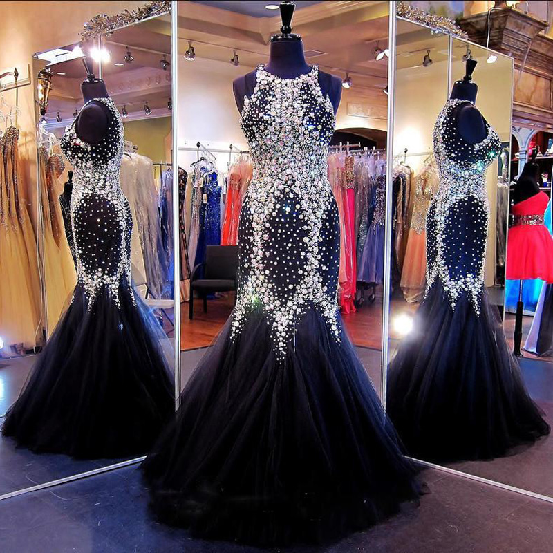 Top Quality Luxury Crystal Sparkly   Prom     Dresses   Mermaid Black Shiny   Prom   Gowns Customize Rhinestone Beading Long Evening   Dress