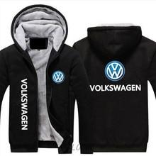 2019 человек мода Сгущает молния куртки хип хоп спортивная одежда Кофты для мужчин пальто для будущих мам новые зимние Volkswagen автомобиль логотипы п