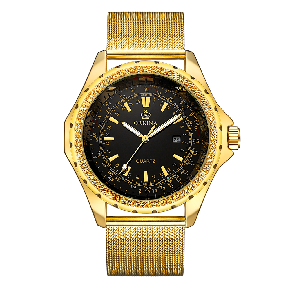 ORKINA Gold Watch Men Watches Top Brand Luxury Famous Wristwatch Male Clock Golden Quartz Wrist Watch Calendar Relogio Masculino bailishi watch men watches top brand luxury famous wristwatch male clock golden quartz wrist watch calendar relogio masculino