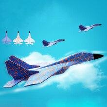 Diy crianças brinquedos mão jogando modelo avião espuma aeronaves dublê luminosa educação epp planador lutador aviões brinquedos para crianças
