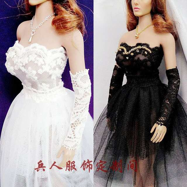 Online Shop Estartek ET57 1 6 Sexy Lovely Black White Wedding Dress for Phicen  Hotstuff Loverly Doll Uniquied Doll Action Figure DIY  8afc12da3098