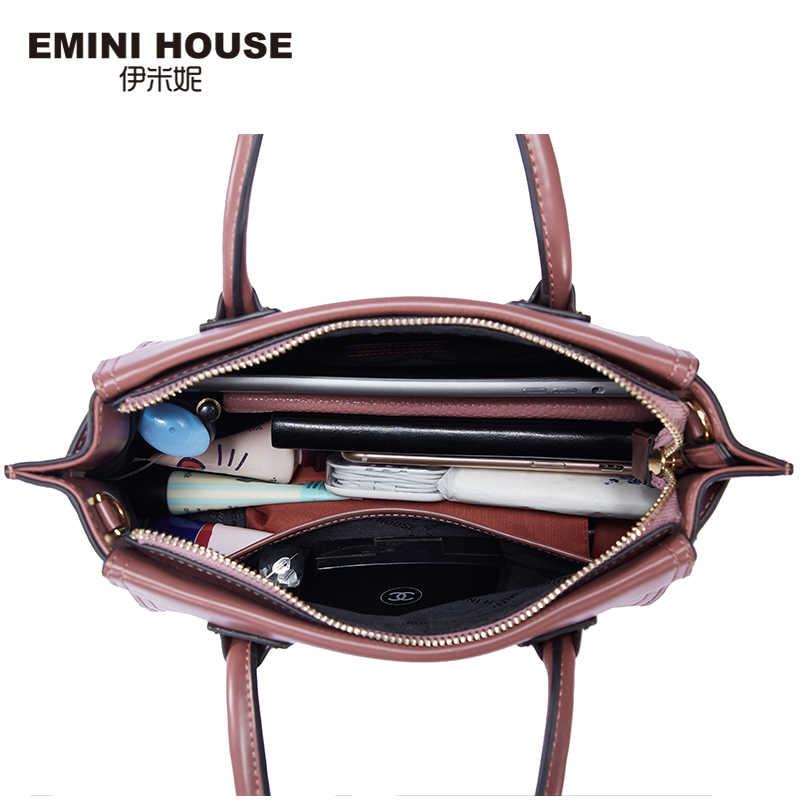 EMINI HOUSE модная сумочка роскошные сумки женские сумки дизайнерские спилок кожаные сумки через плечо для женщин сумка-мессенджер