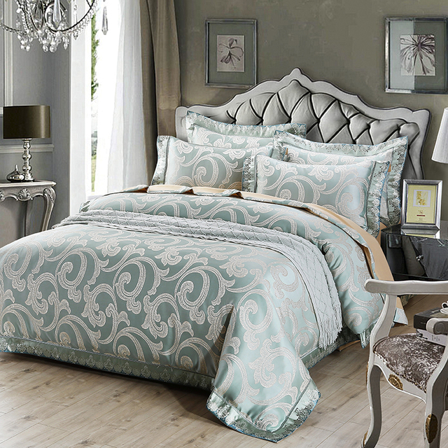 Europe Jacquard Luxury Royal Bedding Sets Queen Size Bed Set Cotton Sheet Gold Duvet Cover