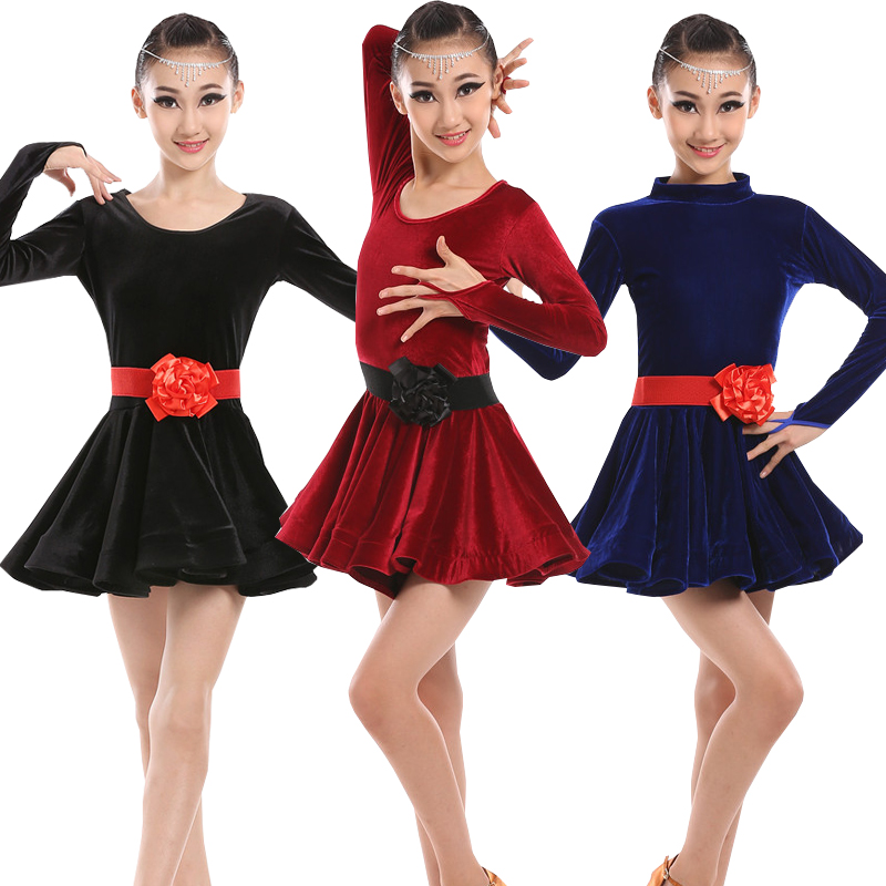 0bd6b2b212d3 Long Sleeve Latin Dance Dress For Girls Competition Latin Dress For ...