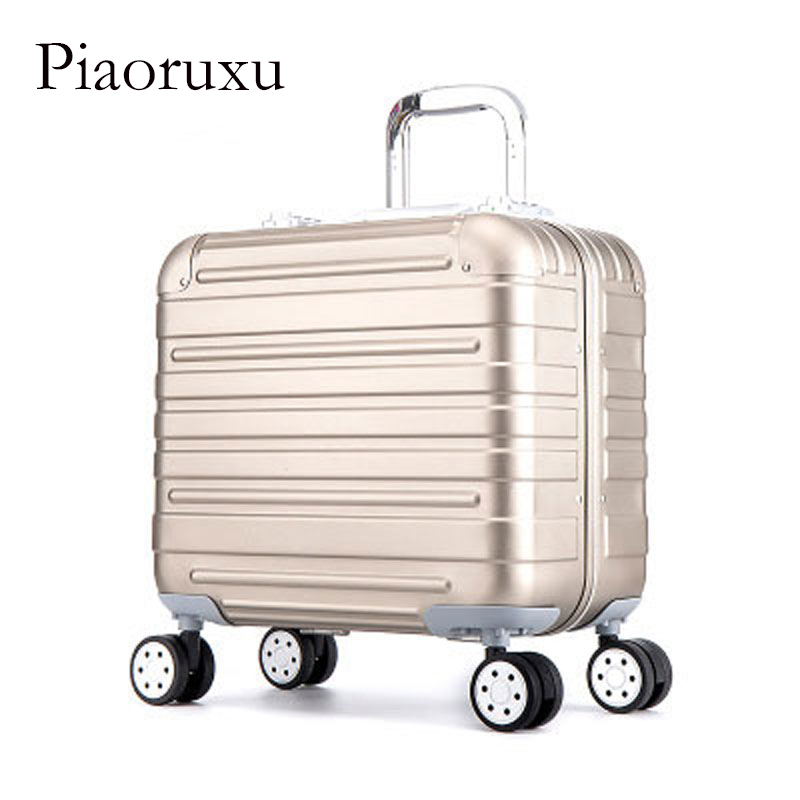 цена на Piaoruxu 18 inch Aluminium Magnesium Alloy Rolling Luggage Full Metal Travel Suitcase Luxury Brand Business Trolley Bags Golden