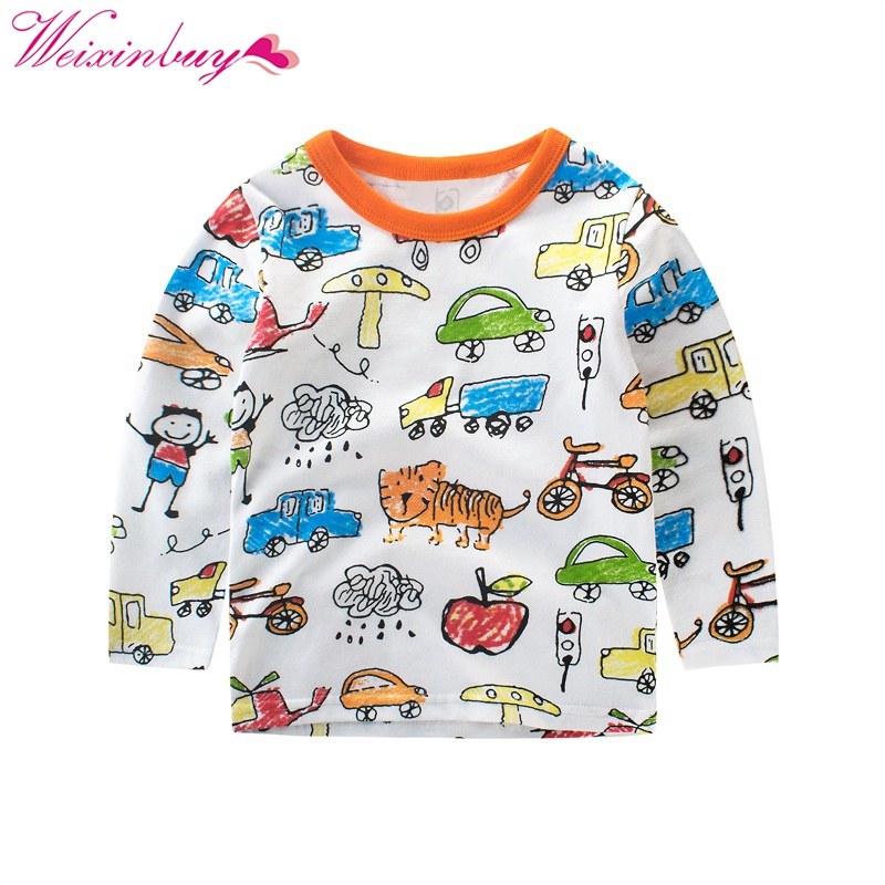 2017 Autumn Winter Kids Boys Sweater Animal print Long Sleeve Baby Girls Casual Shirts Cotton Childrens Pullover Tops
