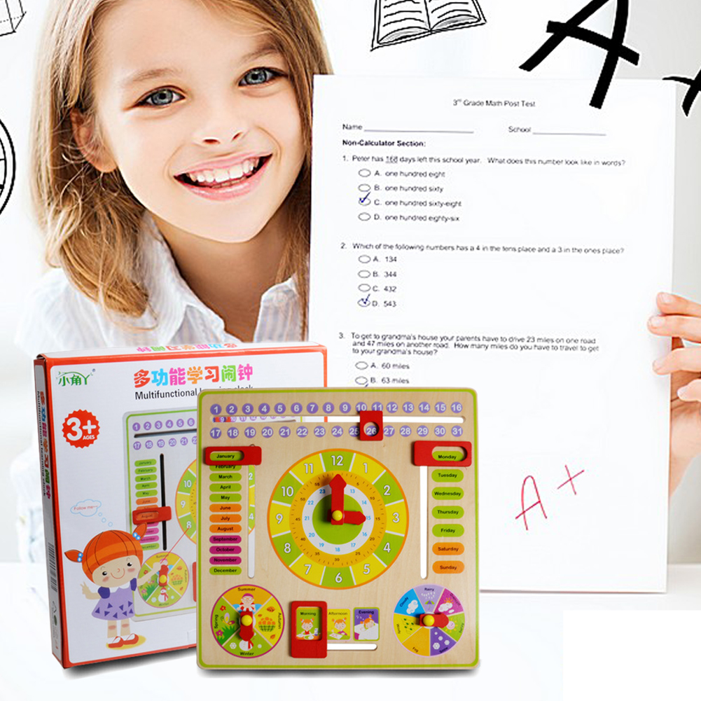 Creative Educational Toy Wooden Clock Baby Kids Date Learning Developmental Versatile Flap Abacus Wooden Clock Toy