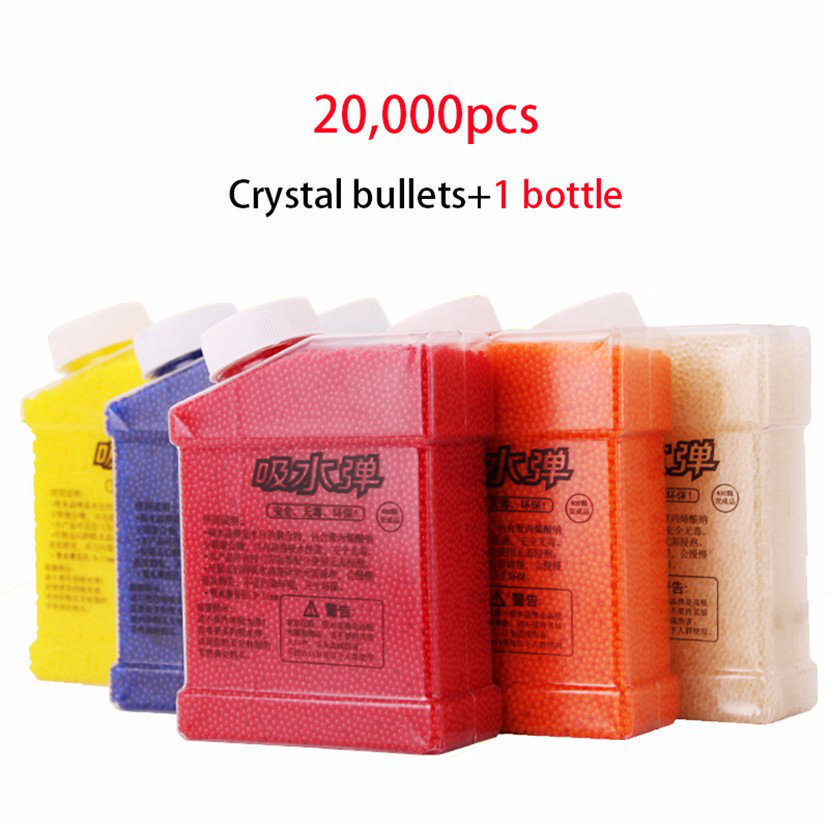 1 Bottle And 20000 Pcs Seven Colors Soft Crystal Water Bullet Paintball Gun Bullet Beads Water Toy Guns Orbeez Toys For Kids