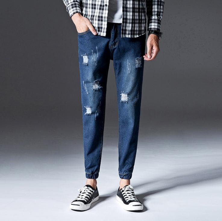 Top Quality 2020 Autumn Winter Fashion Casual Teenagers Jeans Beam Feet Pants Ripped Hole Leisure Harem Pants Men's Trousers