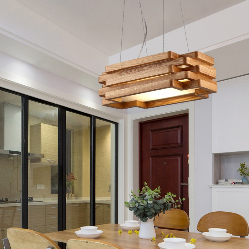 Nordic personality wood Pendant Lights table art rectangular living room restaurant tea room creative wood Pendant lamps