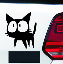 15cm*12cm Big eyes cat Car Sticker funny car styling decoration accessories black or white color creative kitten sticker