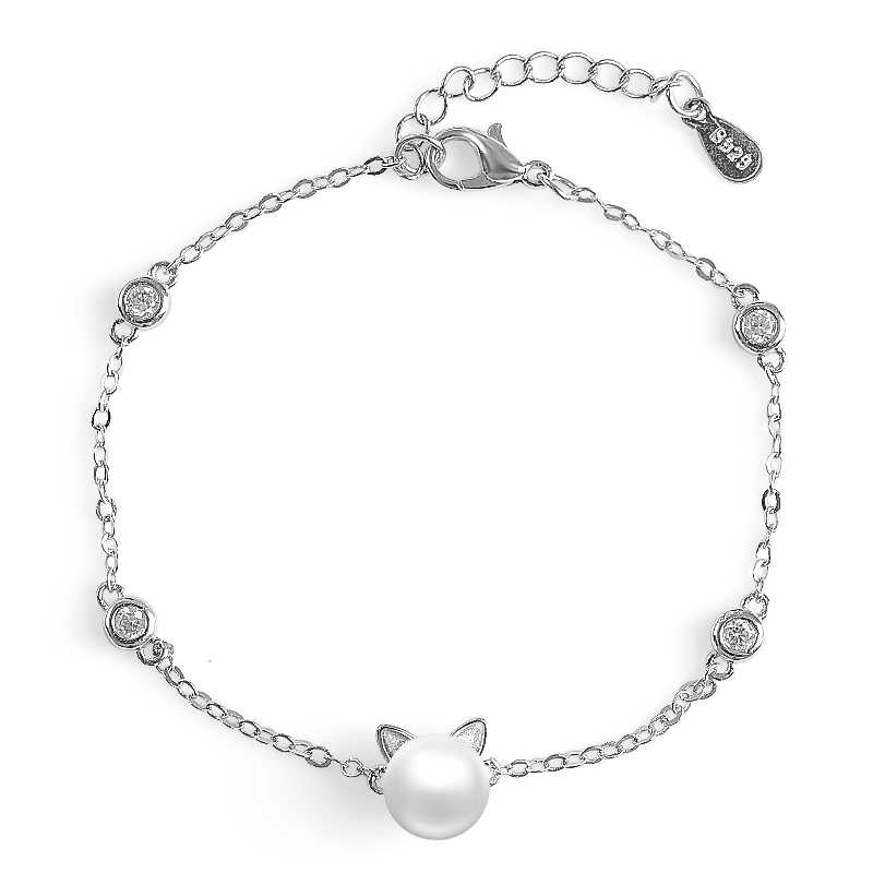 H:HYDE New Selling Cute Cat Shape Bracelets Jewelry for Women Silver Color Alloy Simulated Pearl Best Gift Girls Wholesale