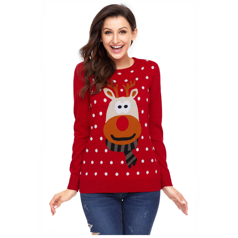 f8750b241d7 US $28.89 15% OFF|Cute Reindeer Pattern Knitted Christmas Sweater for Women  Kawaii Rudolph the Red Nose Reindeer Oversized Xmas Pullover Jumper-in ...