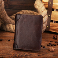 100% Genuine leather Brand men wallets Vintage purse with coin bag card holder wholesale luxury designer brand short wallet