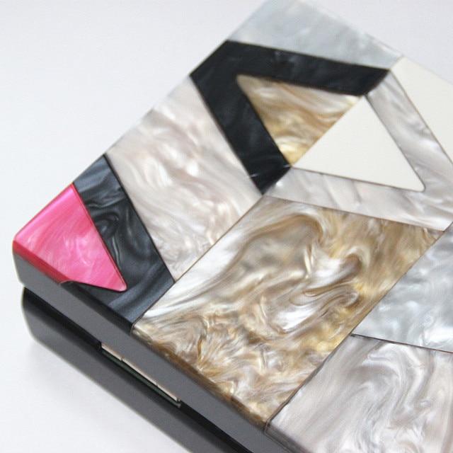 New Women Messenger Bags Brand Fashion Luxury Acrylic Geometric Lattice Patchwork Handbag Party Prom Clutch Woman Evening Bag 4