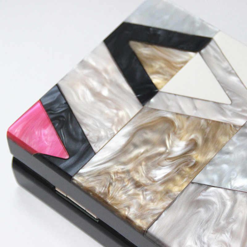 חדש נשים שליח שקיות מותג אופנה יוקרה אקריליק גיאומטרי סריג טלאי תיק מסיבת נשף מצמד אישה ערב תיק