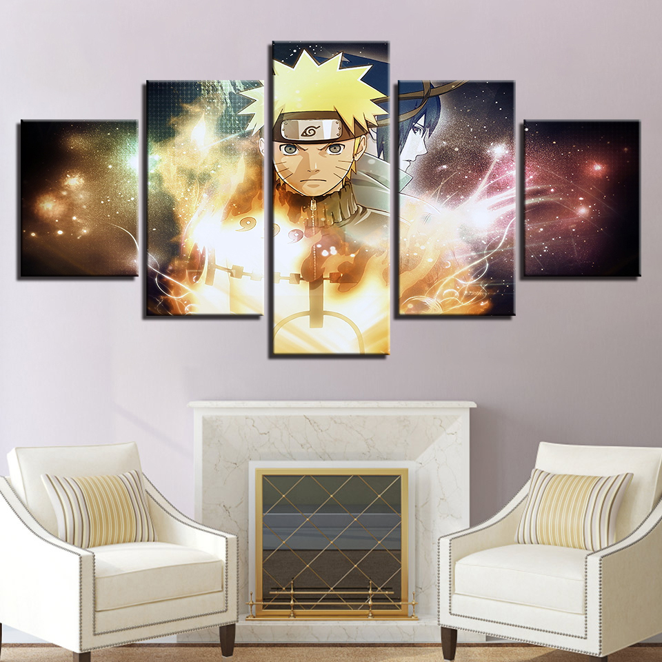 5 Pieces Home Decor Canvas HD Prints Pictures Wall Art Naruto Paintings Cartoon Anime Characters Posters Living Room Bedroom