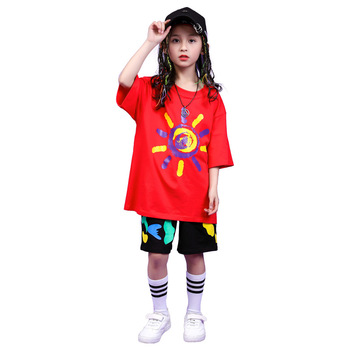 Children Hip Hop Clothing Oversized T Shirt Tops Casual Shorts for Girls Boys Jazz Dance Costumes Ballroom Dancing Clothes Wear 5