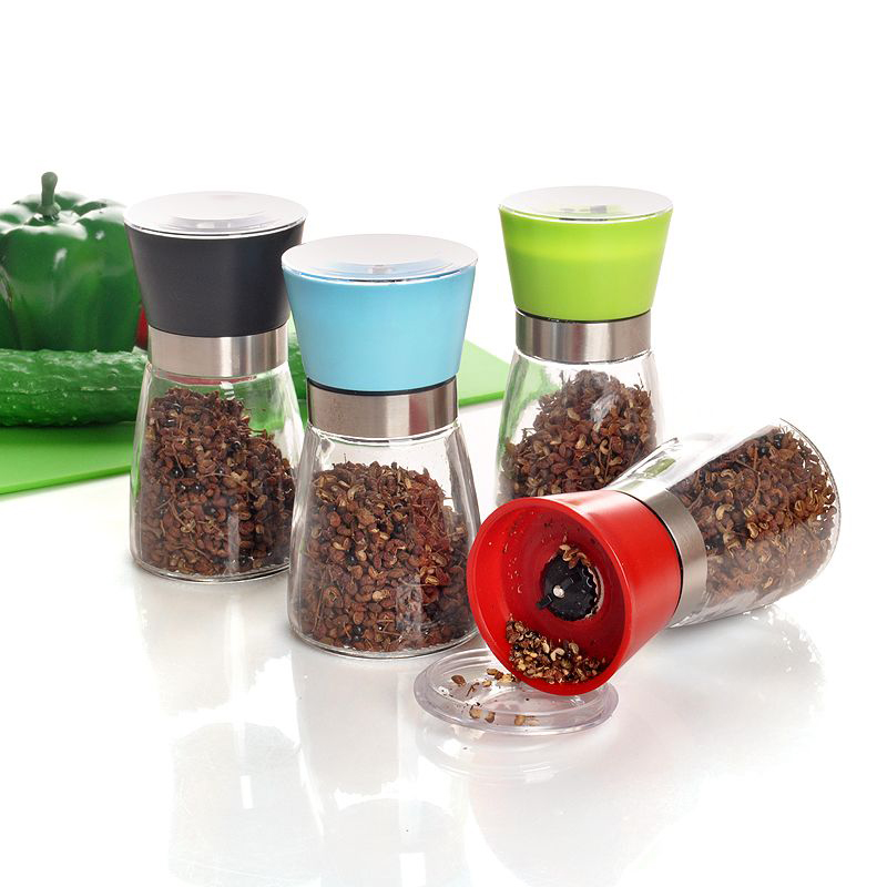 FREE SHIPPING High Quality Best selling Glass Pepper set Salt Herb Spice Hand Grinder Mill manual pepper mill  moulin à sel et poivre