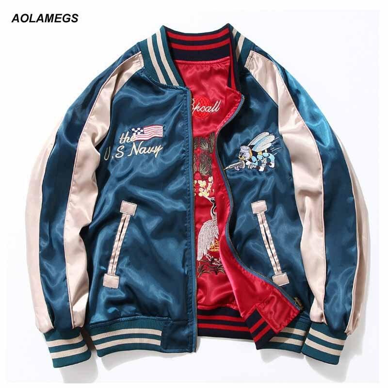 Aolamegs Japon Yokosuka Broderie Veste Hommes Femmes Mode Vintage Baseball Uniforme Les Deux Côtés Portent Bomber Vestes Streetwear