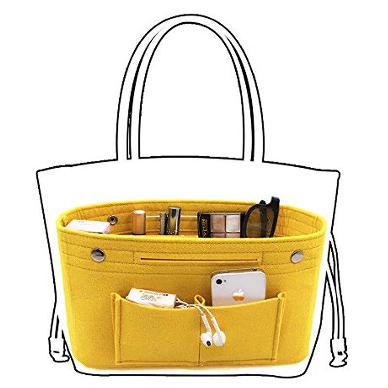 LHLYSGS Obag Felt Cloth Inner Bag Women Fashion Handbag Multi-pockets Storage Cosmetic Organizer Bag Luggage Bags Accessories