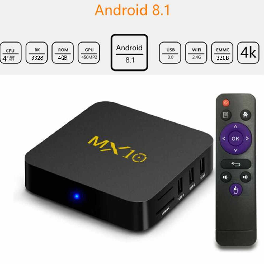MX10 Smart TV Box Android 9.0 Rockchip RK3328 DDR 4 GB RAM 64GB ROM IPTV Smart Set-Top box 4K Usb 3.0 HDR H.265 Media Player Kotak