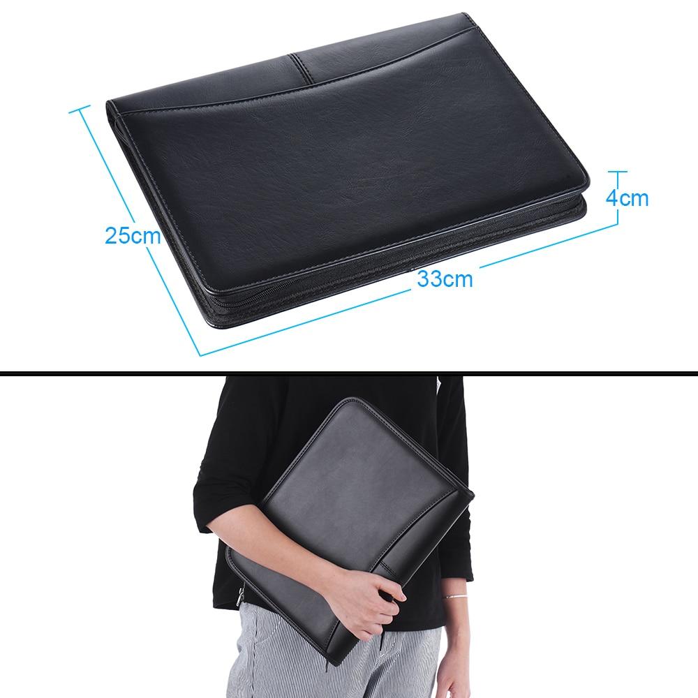US Zippered PU Leather A4 Portfolio Folder Business Case Organizer Card Holder