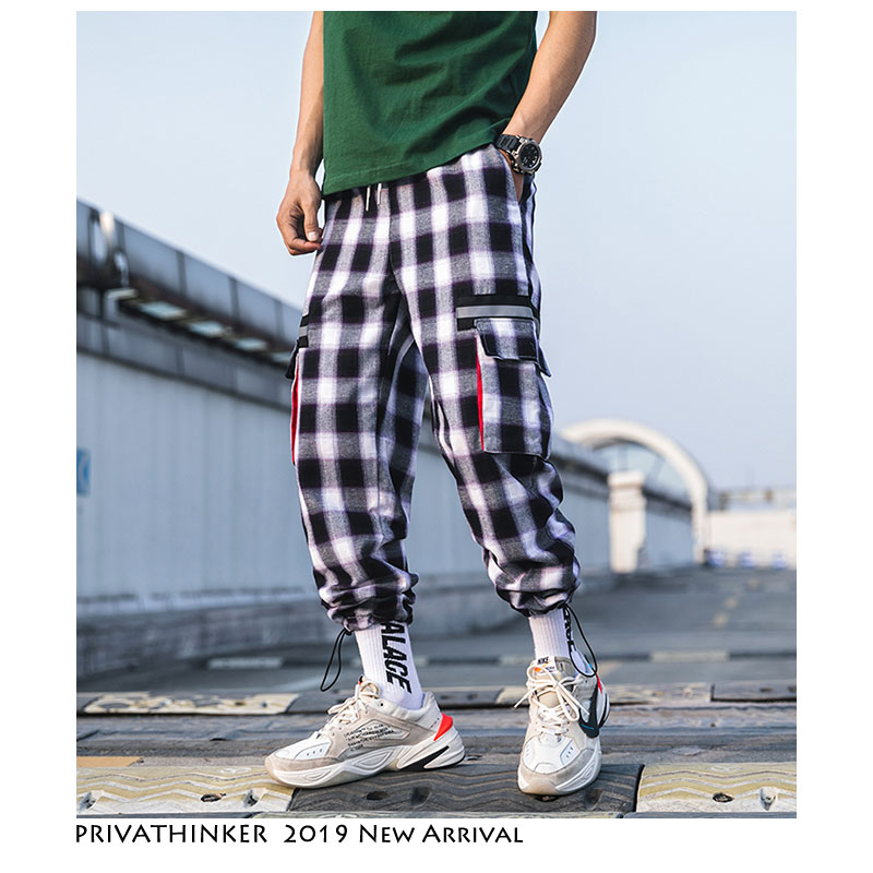 Privathinker Plaid Joggers Pants Men Track Pants 2019 Mens Streetwear Pockets Sweatpants Male Vintage Korean Trousers Overalls