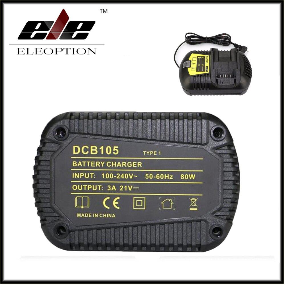 Eleoption DCB105 10.8V 12V 14.4V 20V Li-ion Battery Charger Replacement Power tool Battery Charger For Dewalt DCB101